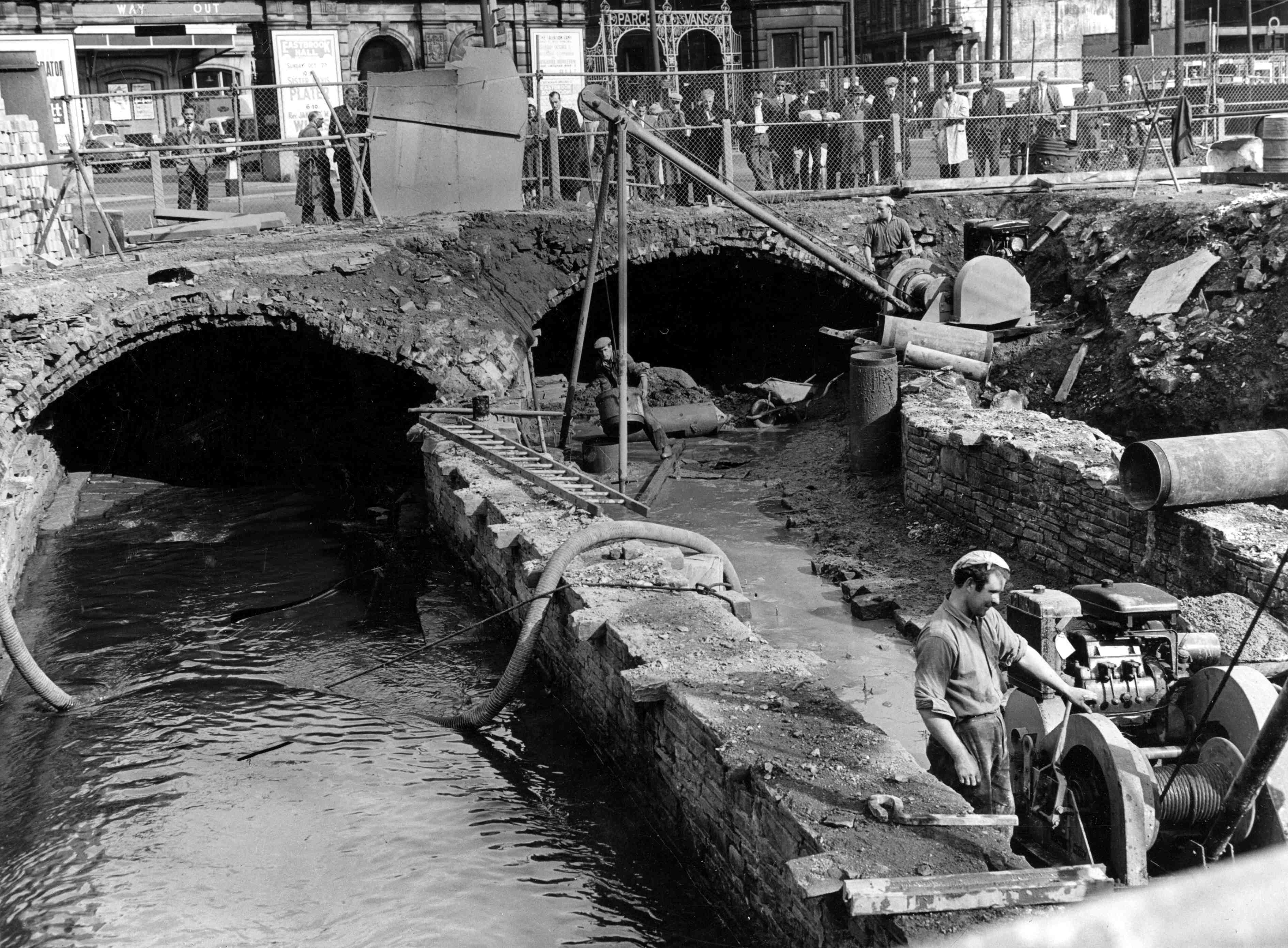 Culverting the Beck to make more building space 1947.